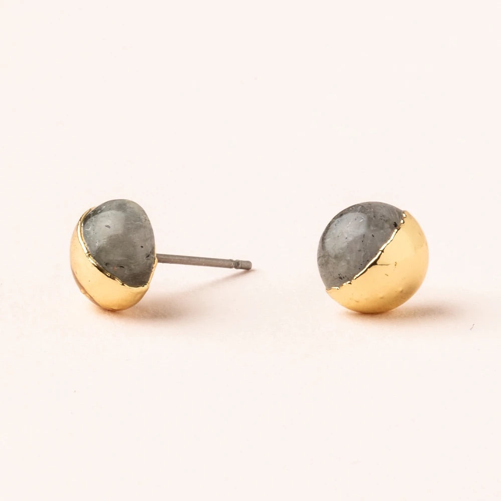 Labradorite + Gold Dipped Stone Stud Earrings