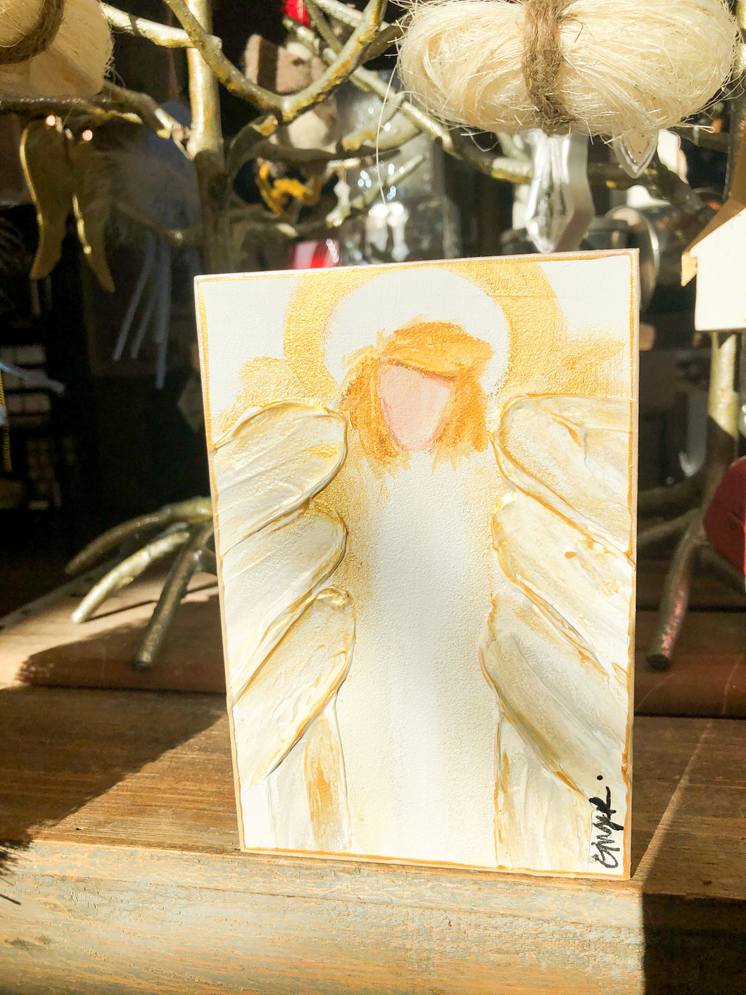 Hallelujah Angel Painting 4x6 - White