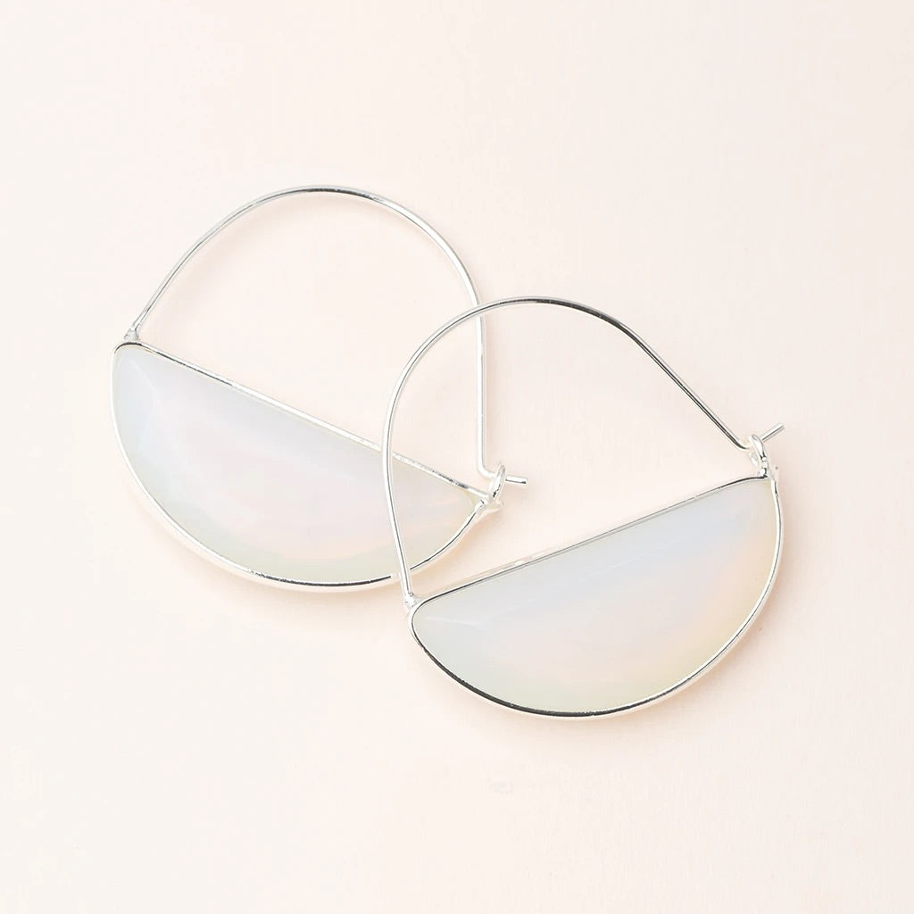 Opalite + Silver Stone Prism Hoop Earrings