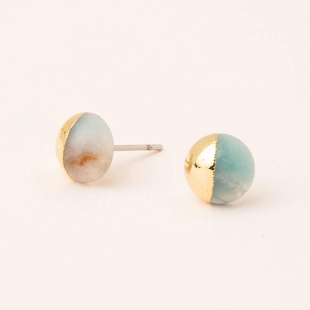 Amazonite + Gold Dipped Stone Stud Earrings