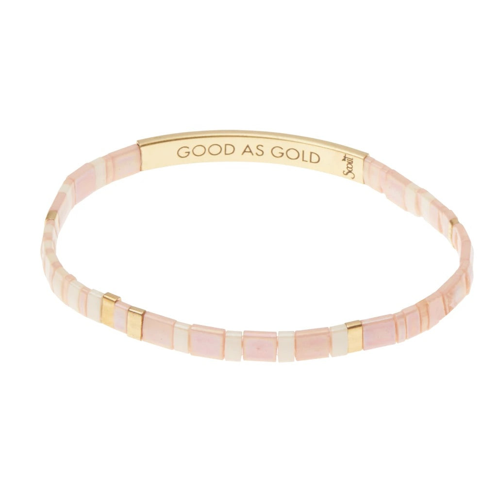 """Good As Gold"" Good Karma Miyuki Bracelet - Blush + Gold"