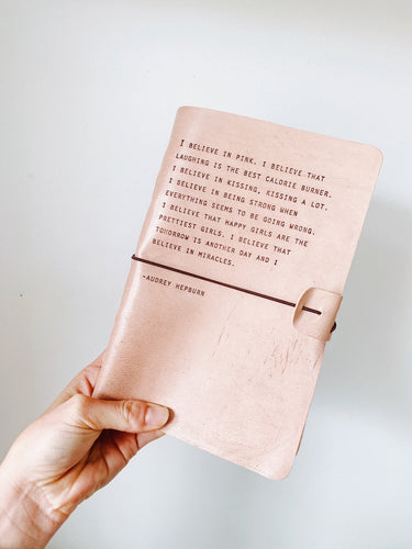 Blush Leather Journal Audrey Hepburn