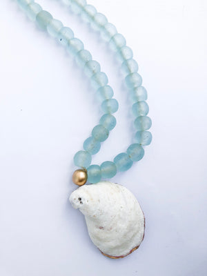 Recycled Glass Beads with Oyster Shell