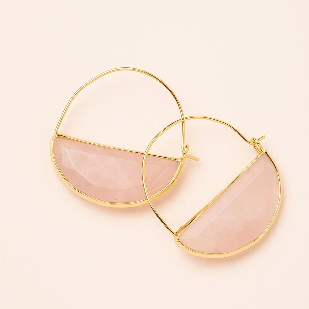 Rose Quartz + Gold Stone Prism Hoop Earrings