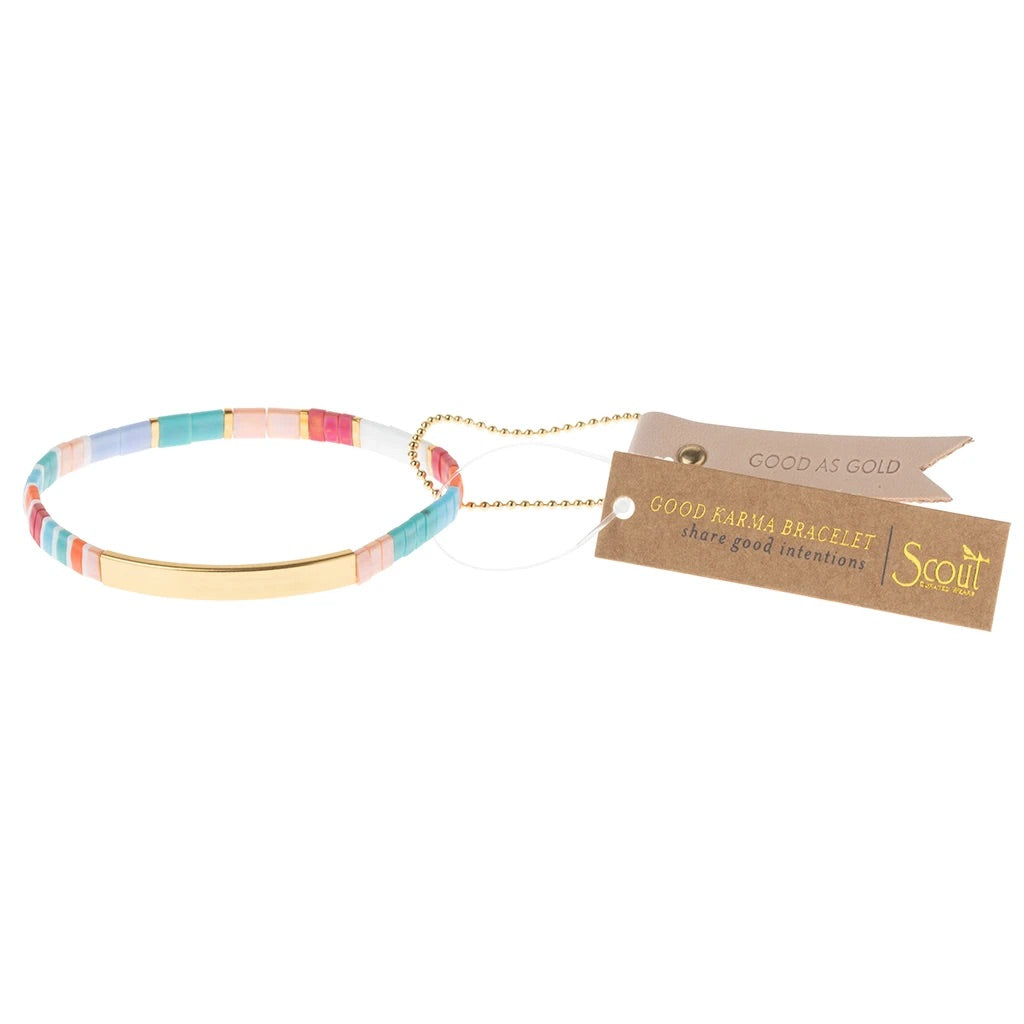 """Good As Gold"" Good Karma Miyuki Bracelet - Aqua Multi + Gold"