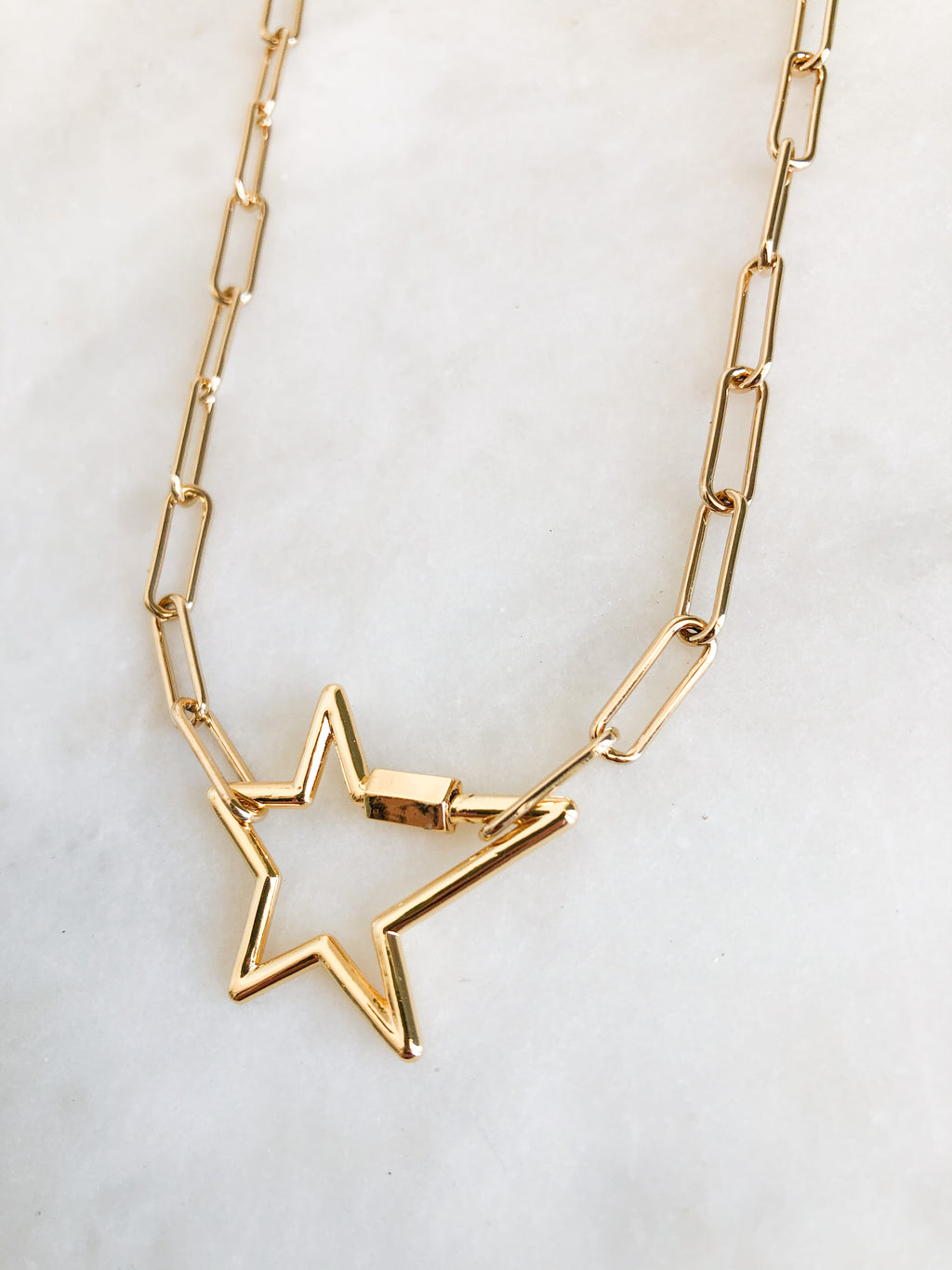 Gold Selene + Gold Star Lock Necklace