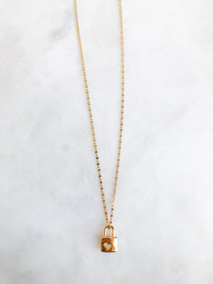 Gold Heart Lock Necklace