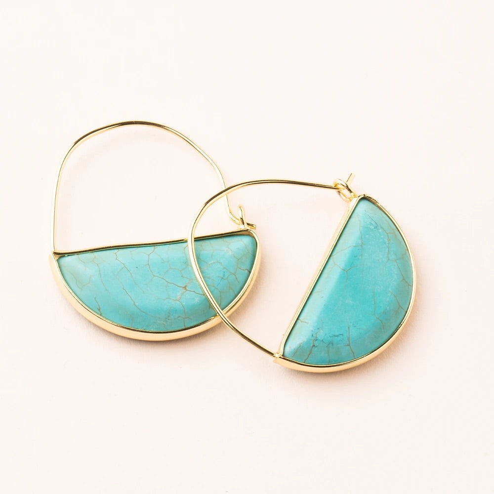 Turquoise + Gold Stone Prism Hoop Earrings