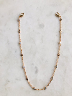 Crystal Gold Face Mask Chain