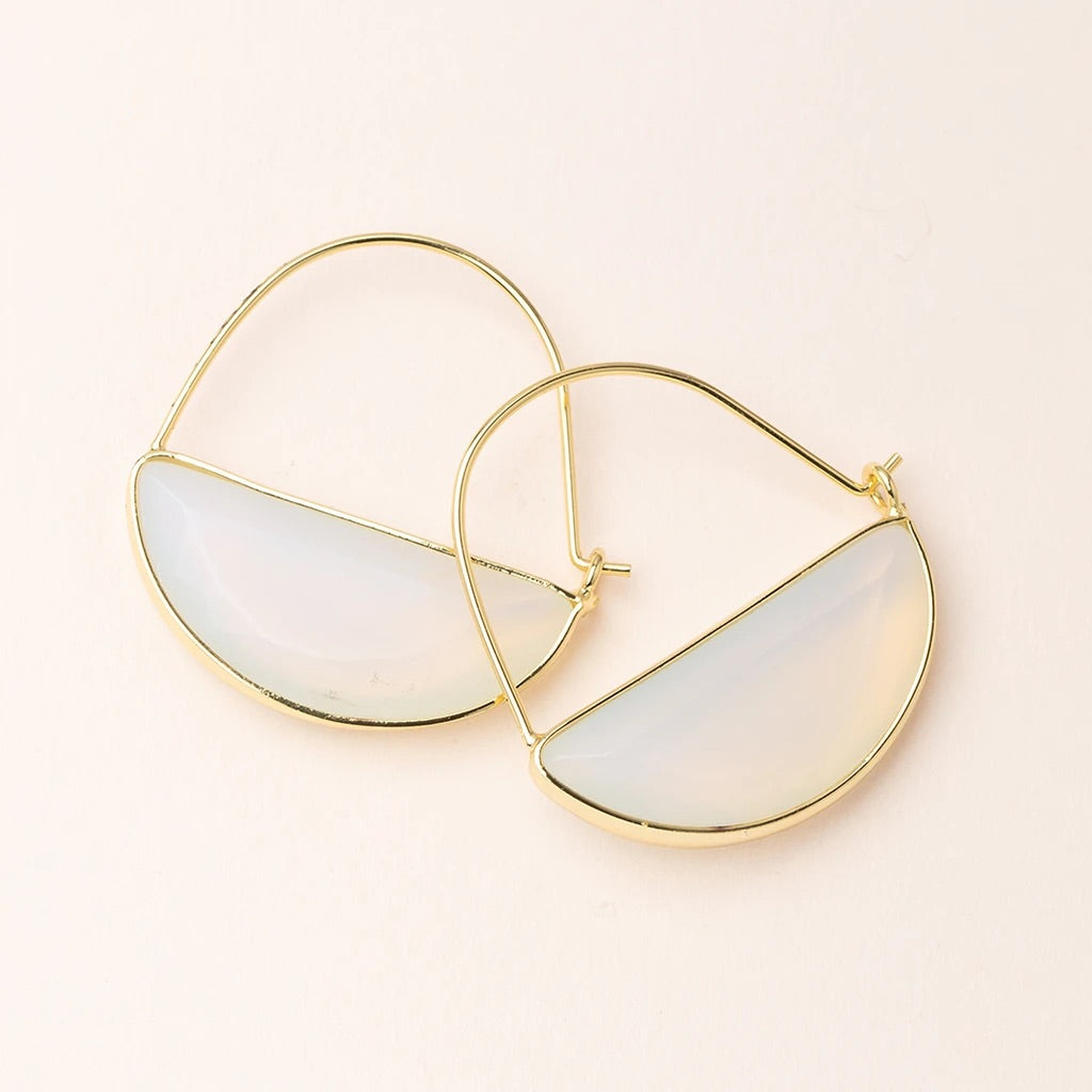 Opalite + Gold Stone Prism Hoop Earrings