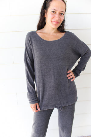 Barefoot Dreams Ultra Lite Slouchy Pullover - Carbon