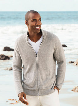 Barefoot Dreams Men`s Zip Front Jacket - Pewter/ Silver
