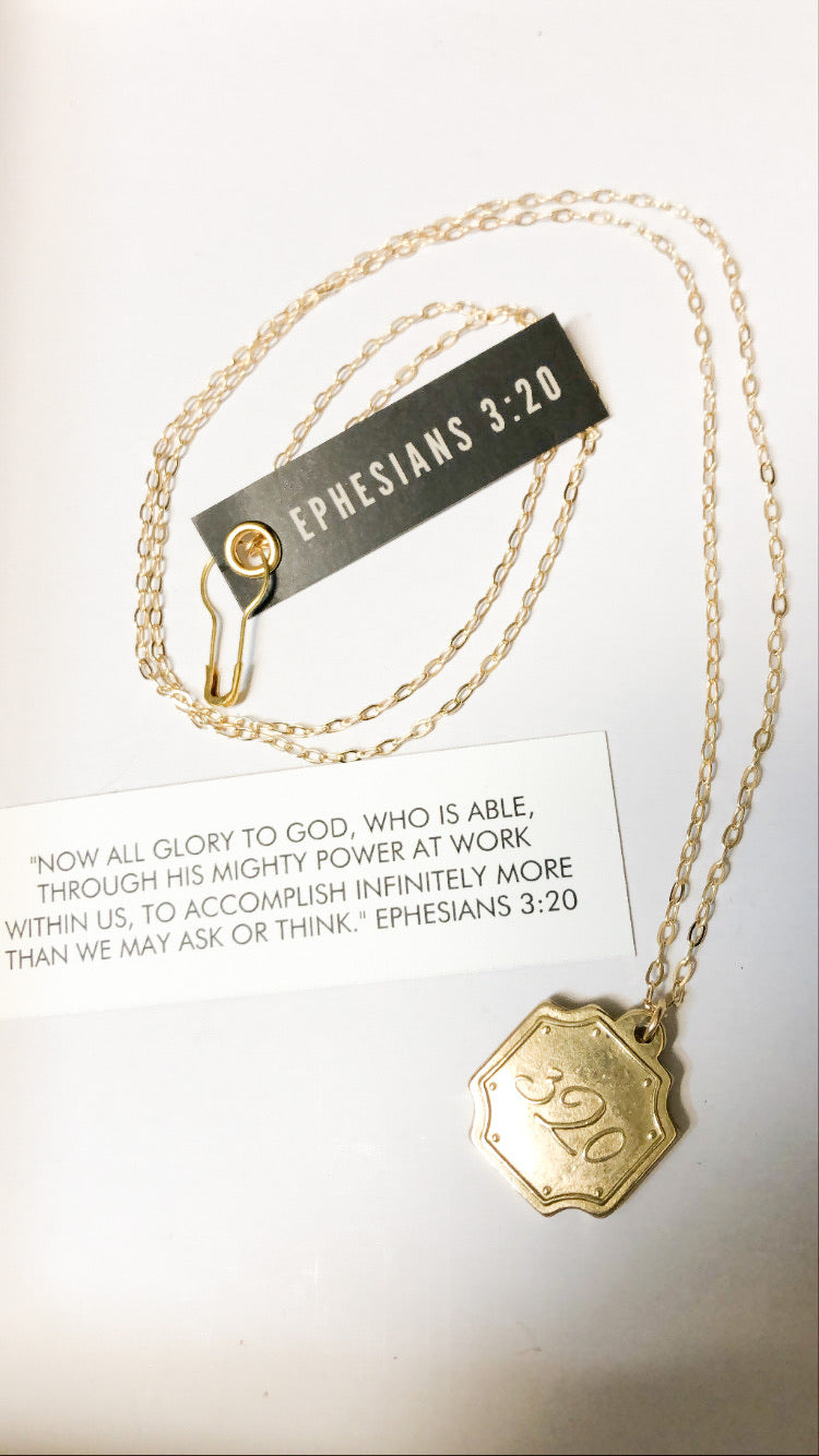 Long Pendant Necklace Ephesians 3:20