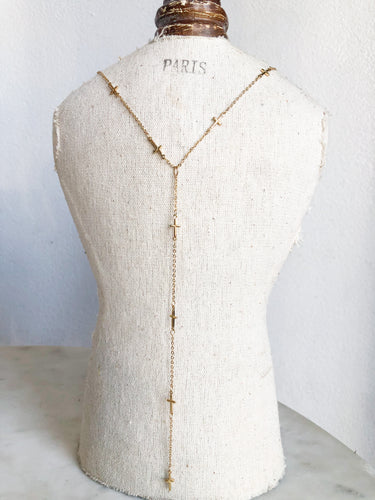 Baby Gold Cross Y Necklace
