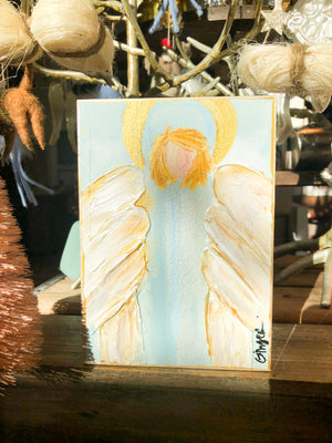 Hallelujah Angel Painting 5x7 - Blue