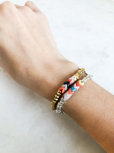 Stretch Bracelet Silver + Multi