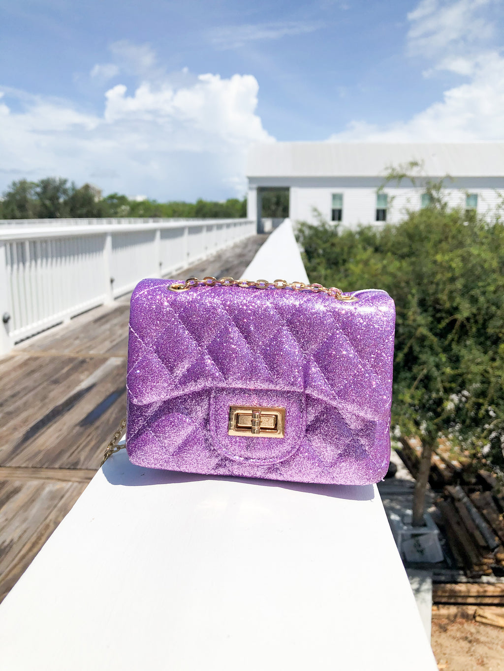 Chanel Style Bag - Purple Sparkle
