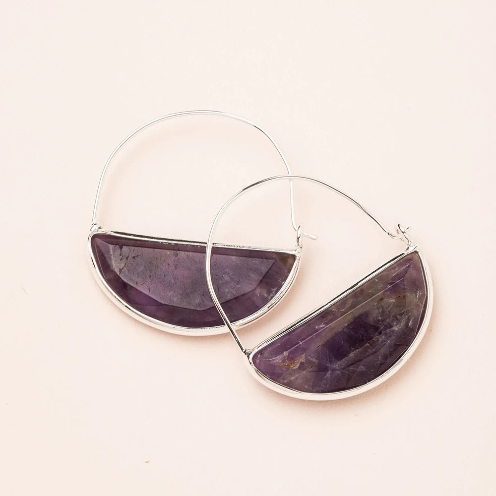 Amethyst + Silver Stone Prism Hoop Earrings