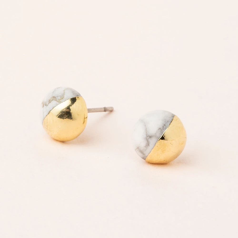 Howlite + Gold Dipped Stone Stud Earrings
