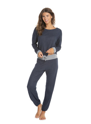Barefoot Dreams Crinkle Jersey Lounge Set - Indigo/ Grey