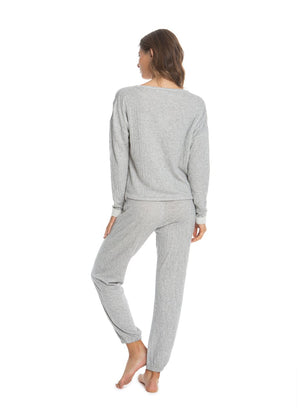 Barefoot Dreams Crinkle Jersey Lounge Set - Grey/ Cream