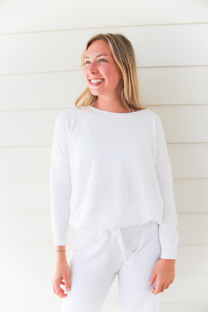 Barefoot Dreams Ultra Lite Slouchy Pullover - Sea Salt