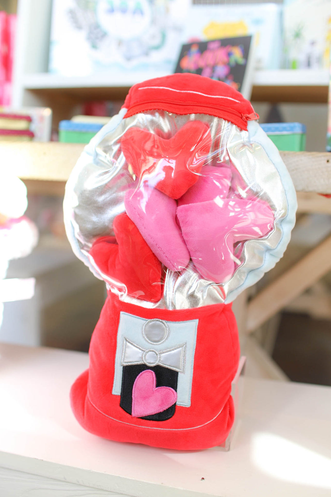 Floating Hearts Gumball Machine Pillow