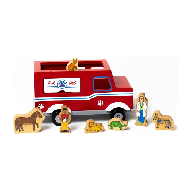 Magnetic Pet Vet Truck Wooden Toy