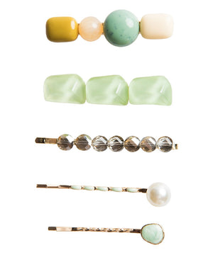 Set of 5 Mint Beaded Hair Clips
