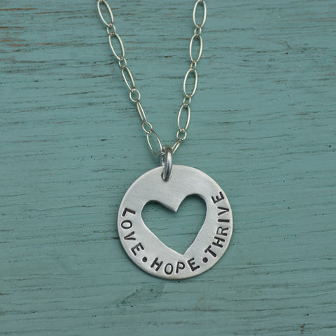 MAXLOVE + SWOON: Heart Cutout Love-Hope-Thrive Necklace