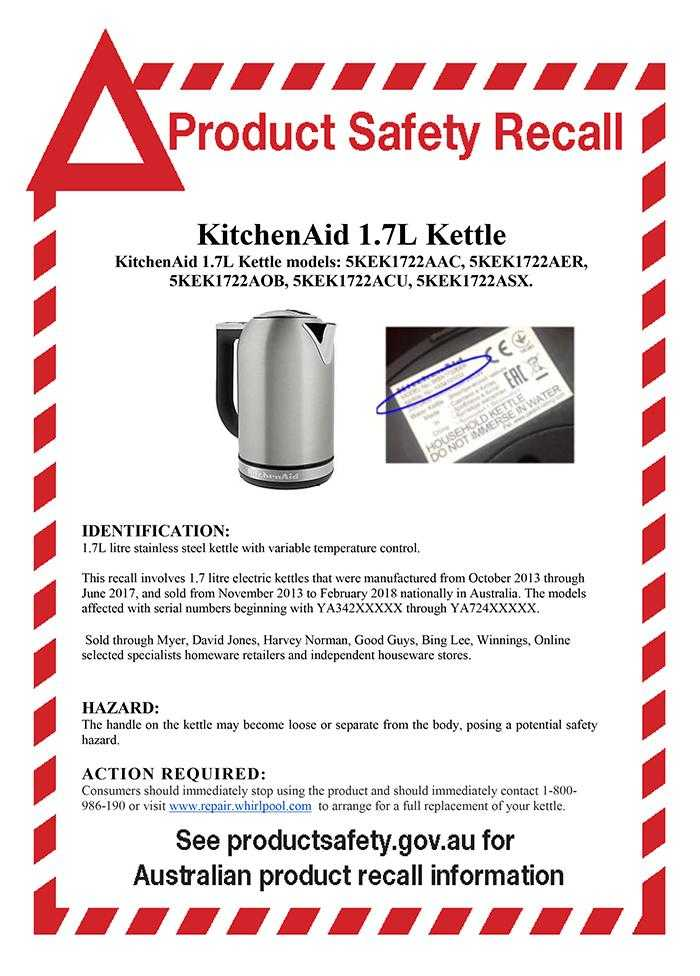 Product Safety Recall Kettle