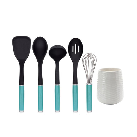 6 Piece Utensil Crock Set Aqua