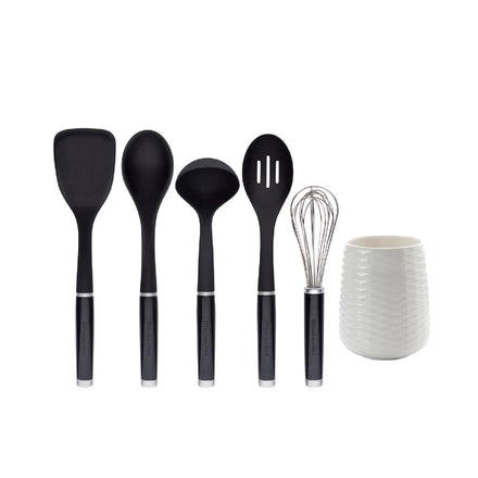 6 Piece Utensil Crock Set Black