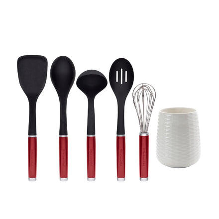 6 Piece Utensil Crock Set Red