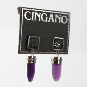 Bronze-Age Purple Shield Earrings