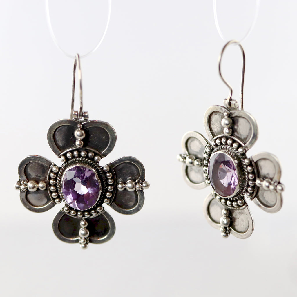 Celtic Clover Amethyst Earrings