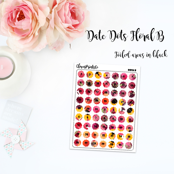 FOILED FUNCTIONAL - Floral Date Dots
