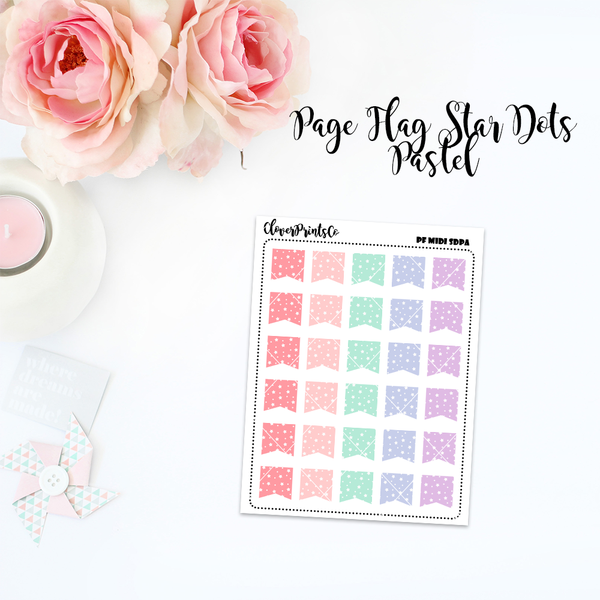 FUNCTIONAL - Multicolor Page Flag Star Dots