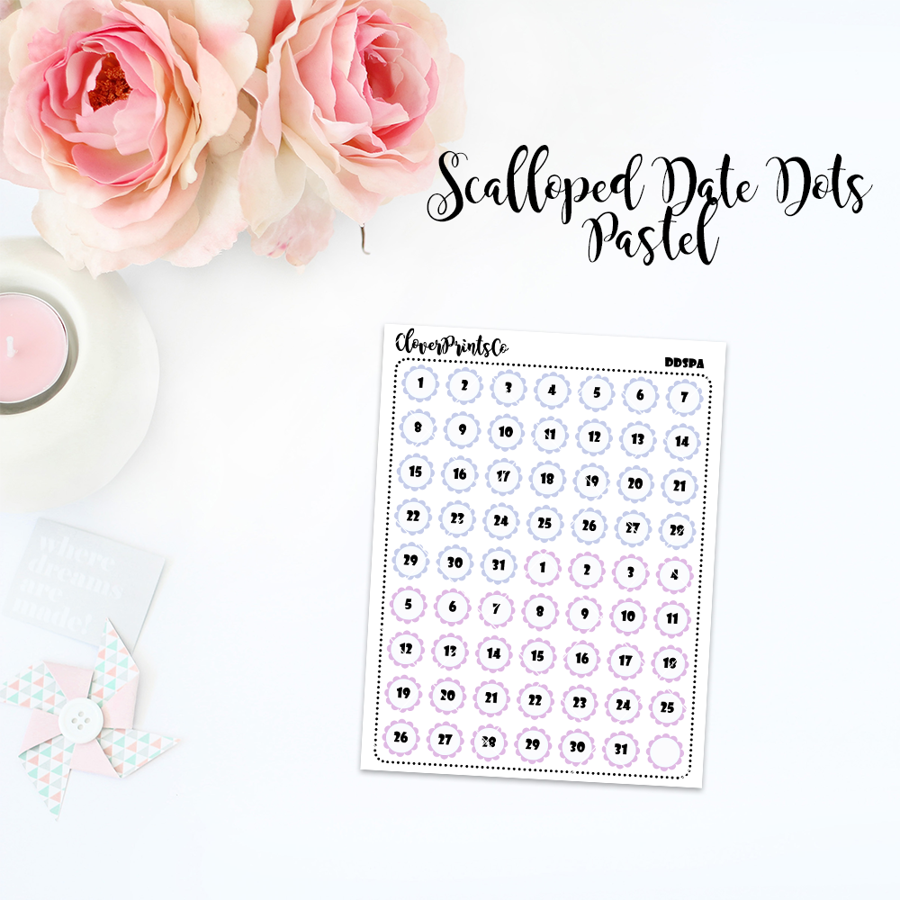FOILED FUNCTIONAL - Multicolor Scalloped Date Dots