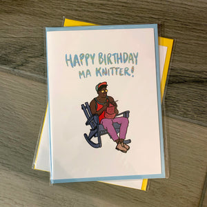 """Happy Birthday Ma Knitter"" Greeting Card"
