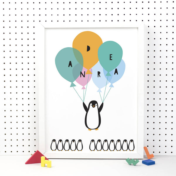 Personalised Flying Penguin Print