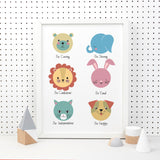 Colourful Animal Personality Print