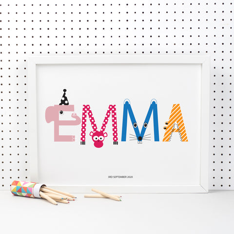Personalised Children's Name Print With Animal Characters