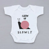 Grow Up Slowly Pink Babygrow
