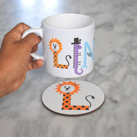 Children's Name Mug + Coaster Set