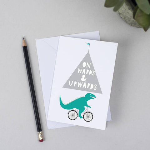 Cycling Dinosaur Greeting Card