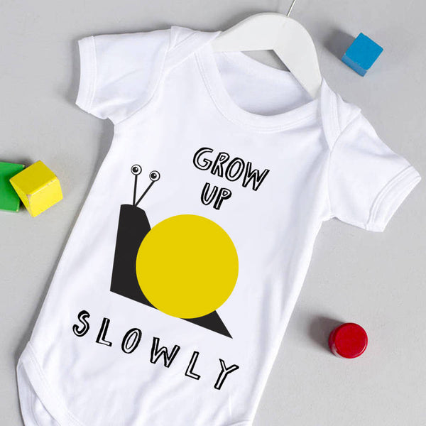 Grow Up Slowly Yellow Babygrow