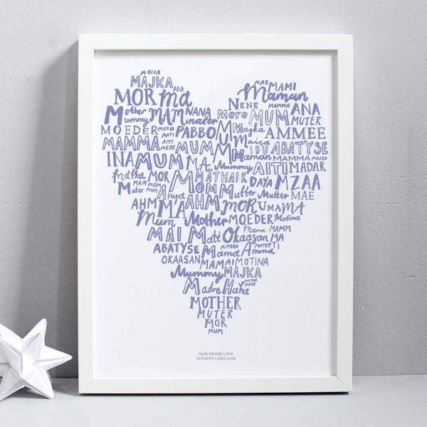 Mum Means Love In Every Language Print