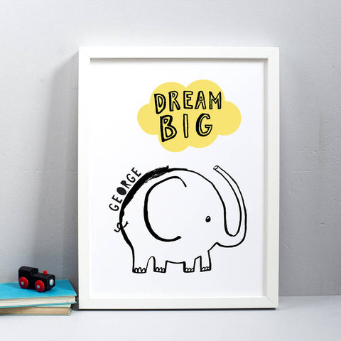 Personalised Dream Big Elephant Print