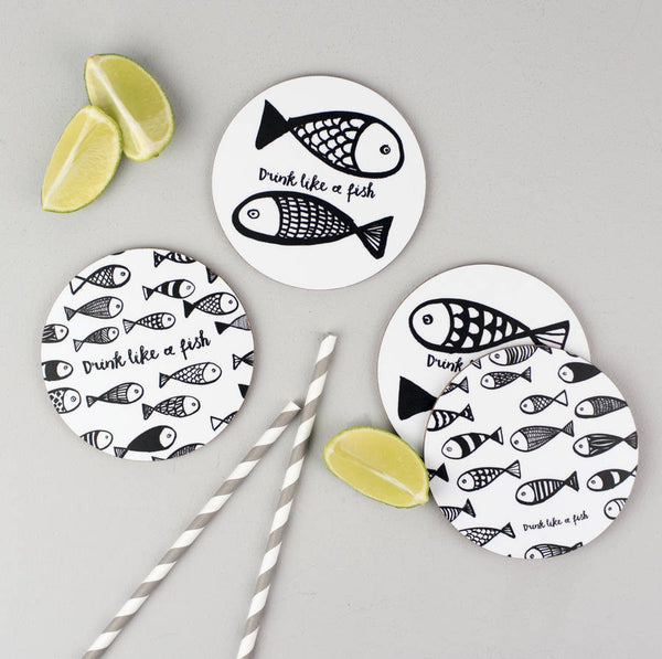 Set of Four 'Drink Like A Fish' Coasters